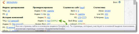 Параметры блога seoslim.ru