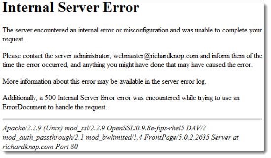 код 500 ошибки на сервере