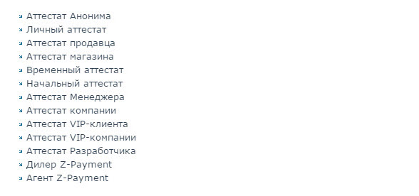 список аттестатов