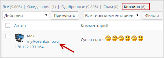 удаленный комментарий фильтром WordPress