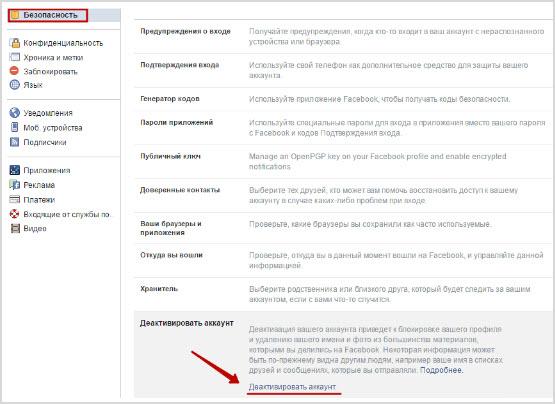 деактивация аккаунта пользователя