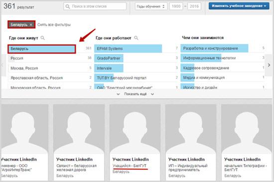 просмотр профиля участников