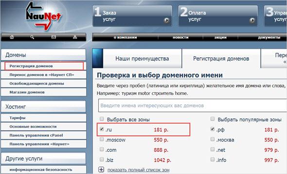 цены за домен в Наунет