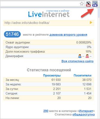как работает расширение LiveInternet