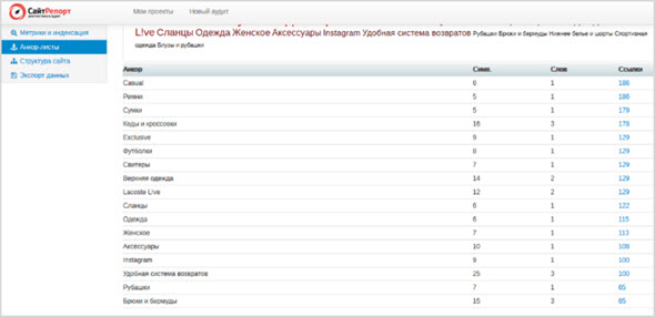 анализ отчета saitreport