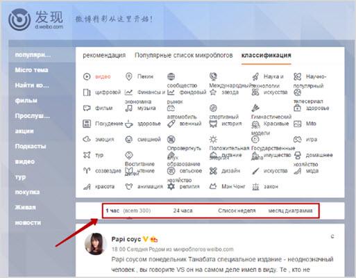 критерии поиска на сайте weibo.com