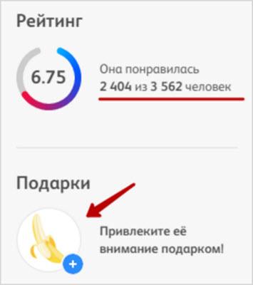 пример рейтинга для профиля баду