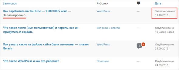 пример всех постов сайта