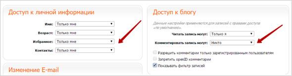 доп. настройки профиля Блог.ру