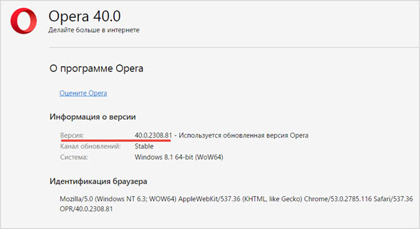 текущая версия браузера Opera