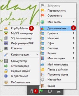 вход в phpMyAdmin через Open Server