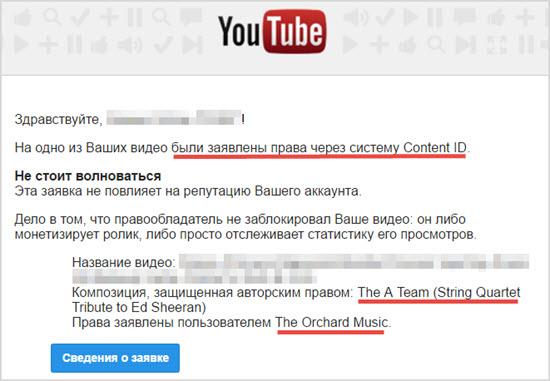 предупреждение контент защищенный авторским правом