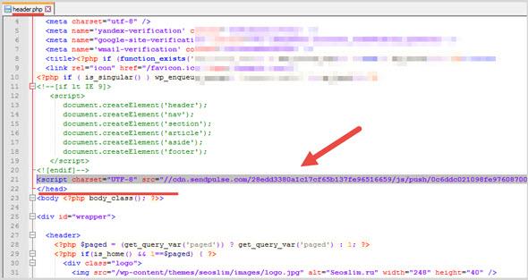 вставка кода SendPulse