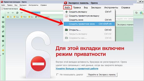скрытый режим в Opera и Mozilla Firefox
