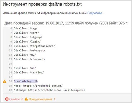 ошибки в роботс