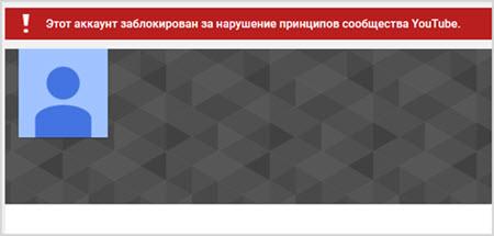 блокировка канала YouTube