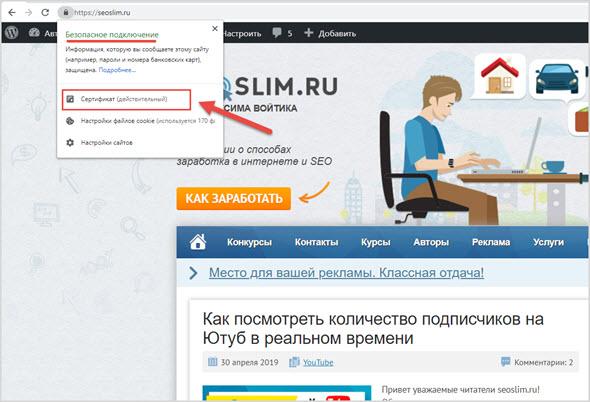 Отображение блога seoslim.ru в браузере