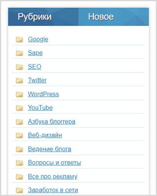 Рубрики на блоге
