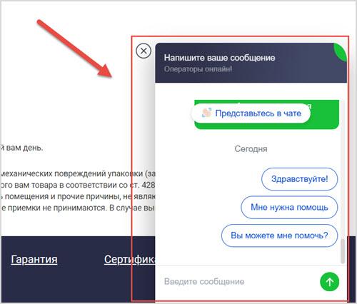 Окно службы поддержки на сайте