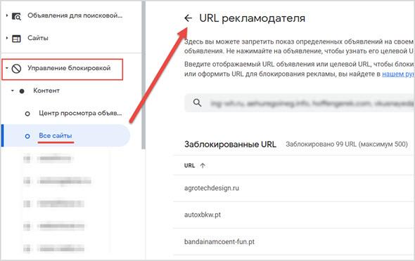 Блокировка URL
